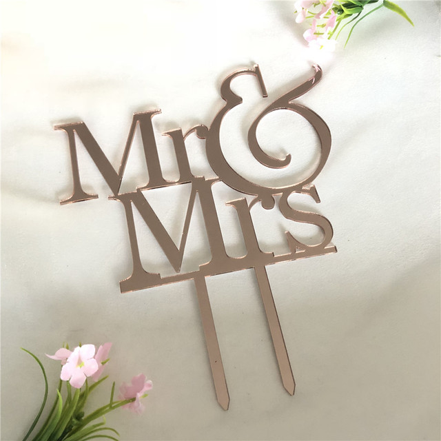 Rose Gold Wedding Cake Topper Mr And Mrs Cake Toppers Mirror Gold