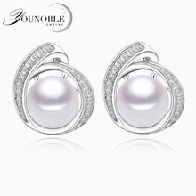 YouNoble Real natural freshwater pearl earrings for women,925 silver stud earrings jewelry bridal girl birthday gift white pink
