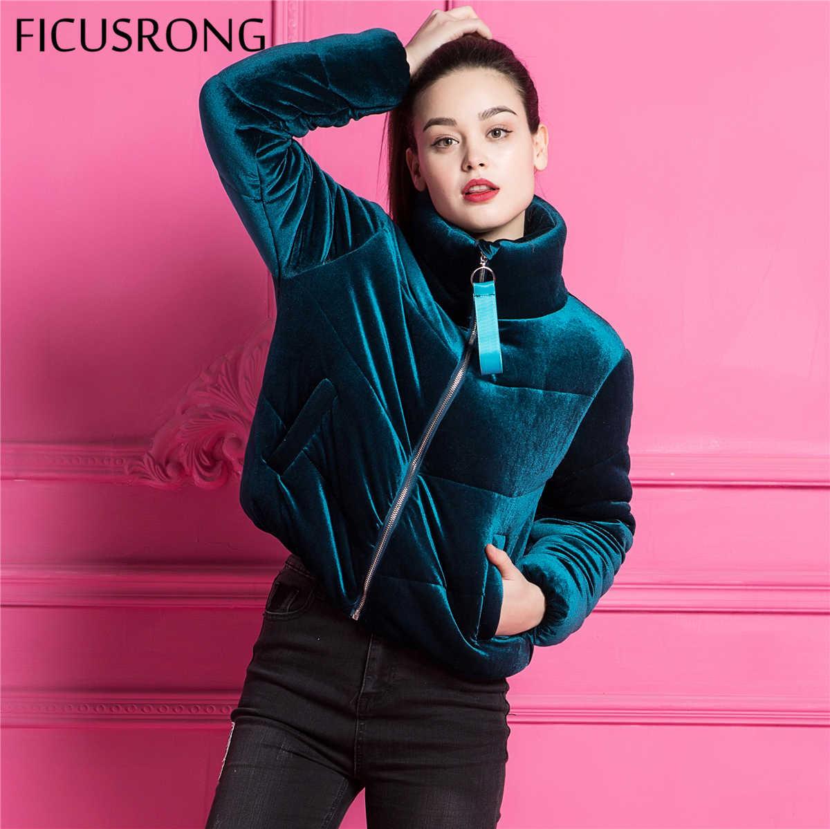 Модная бархатная Базовая куртка с хлопковой подкладкой, пальто, теплые синие парки, куртки, Женская Осенняя зимняя куртка, женская верхняя одежда, FICUSRONG