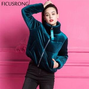 Image 4 - Moda de veludo algodão acolchoado básico casaco jaqueta quente azul parkas jaquetas feminino outono inverno jaqueta outerwear feminino ficusrong