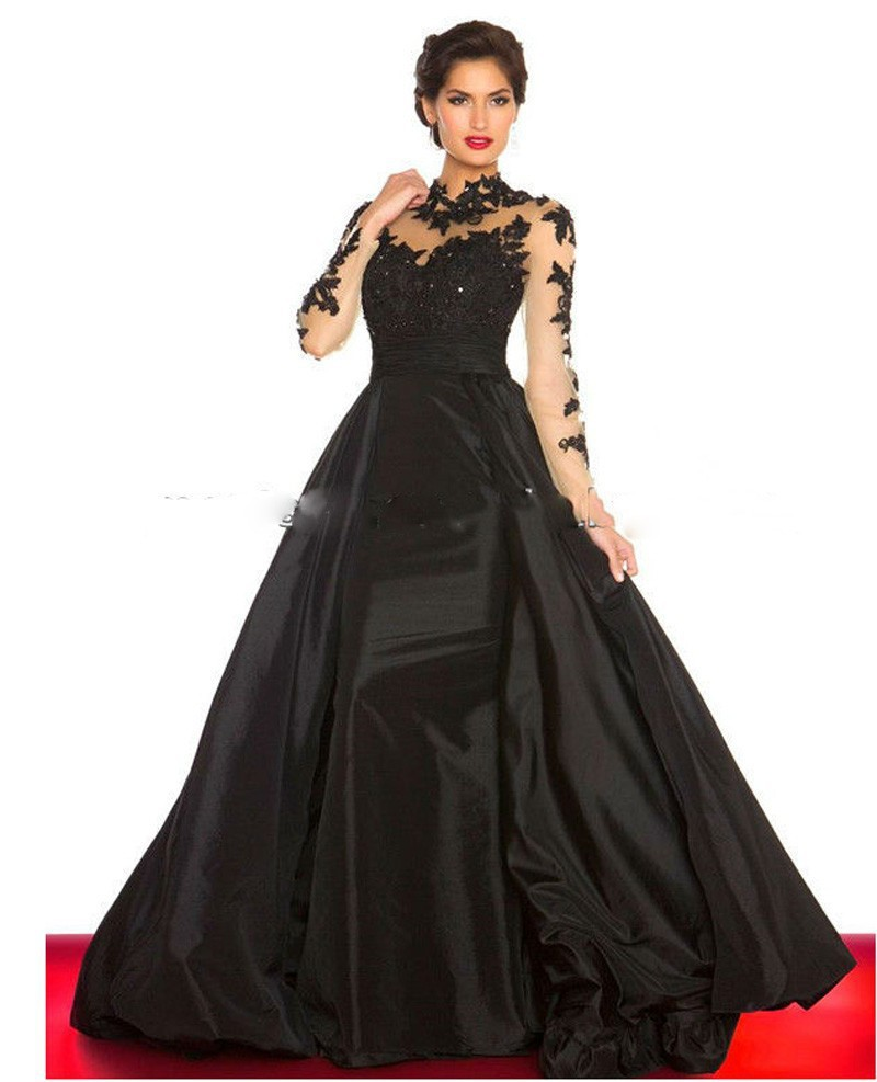 Popular Black Gown Long-Buy Cheap Black Gown Long lots from China ...