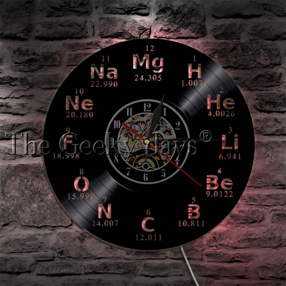 Chemical Elements Wall Clock Chemical Symbols Vinyl Record Clock Periodic Table Wall Art Teachers Gift Idea Modern Wall Clock