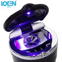 Fashion Durable Portable Car Auto Home Office Ashtray Car Interiors Frame Set Blue LED Lights Ashtray