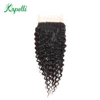Kapelli Hair Malaysian Curly Lace Closure 4*4 Free Part Bleached Knots Non Remy 100% Human Hair Natural Black Color Can Be Dyed