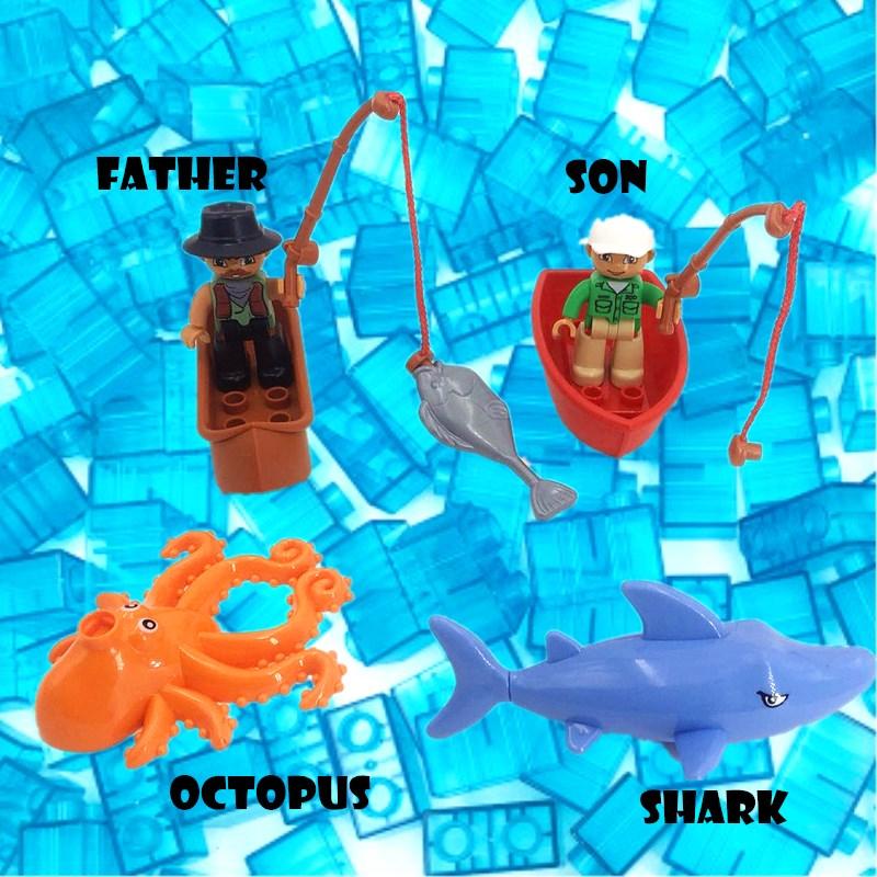 Aquatic Creatures Sea Fishing Building Blocks Big Size Block Bricks Compatible With Duploed Parts Toys For Children Kids Gift