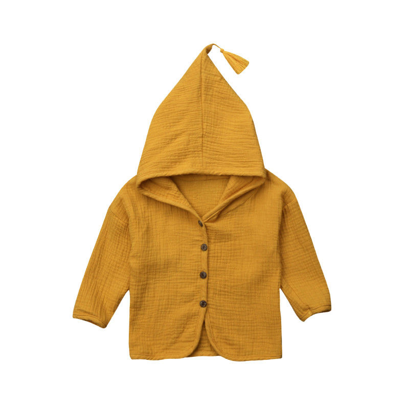 Hoodies Outerwear Infant Baby-Boy-Girl Kids Autumn Coat Solid Spring Cotton Cloak Tops