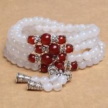 Natūralus akmuo baltas agatas apyrankė apvali karoliukas sidabras raudonas chalcedonas pasisekė brangakmenis moterų kristalų kvarco juvelyrika meilės energija dovanos