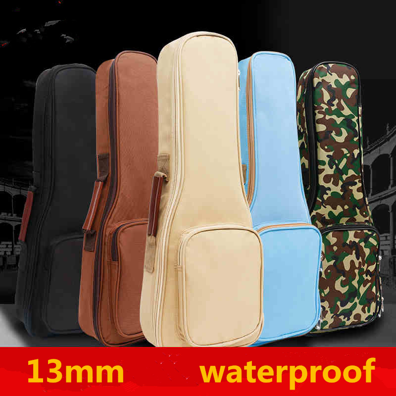 13mm Colorful Waterproof Soprano Concert Ukulele Bag Case Backpack 21 23 24 26 Inch Ukelele Beige