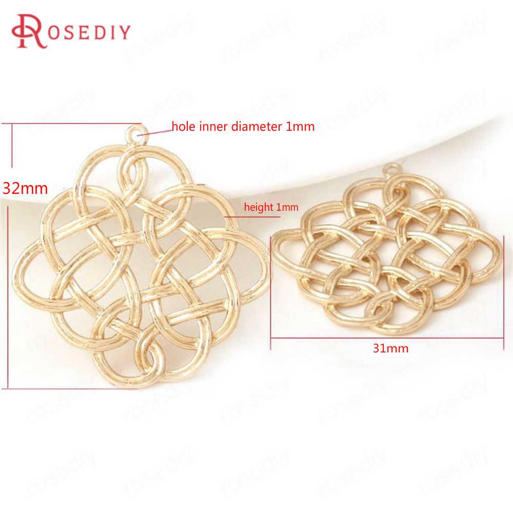 (B089) 6 Buah 31*32 Mm Kuningan 24K Champagne Gold Warna Square Cina Simpul Terhubung Pesona Liontin Temuan Perhiasan aksesoris