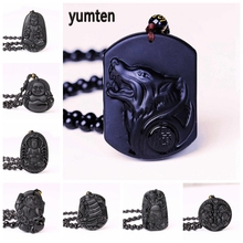 Yumten Obsidian Necklace Wolf Pendant Sweater Chain Amulet Accessories Stone Buddha Tibetan Jewelry Lucky Halloween Crystal Gift obsidian necklace natural stone wolf head pendant buddha guardian ball chain carving amulet with obsidian blessing lucky jewelry