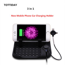 TOTTIDAY Anti- slip Silicone Pad Car Desk Phone Holder 3 in 1 Pulg for iPhone X 8 Samsung Android Type-C Magnetic Charging Cable