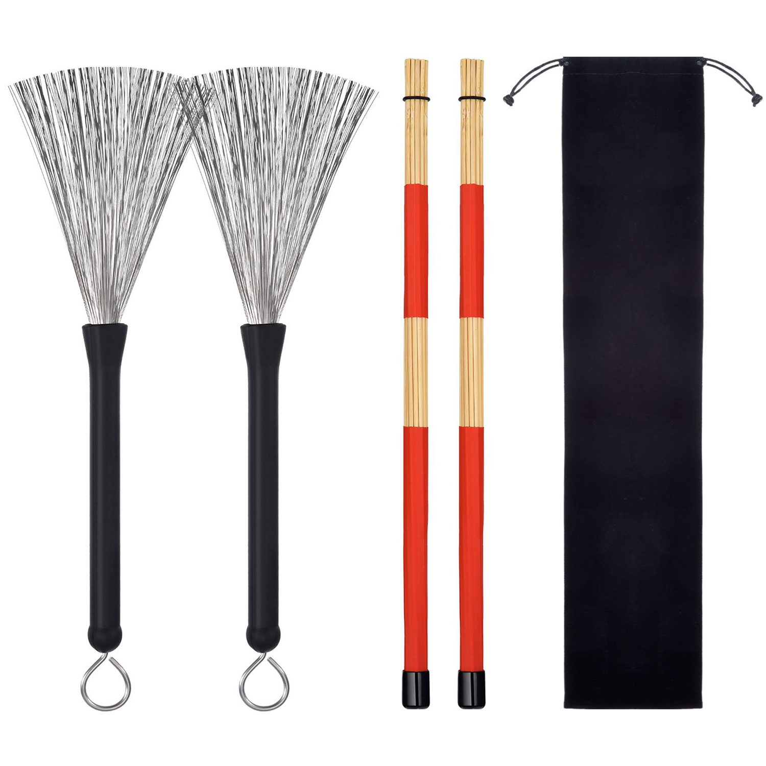 XFDZ 1 Pair Drum Brushes Retractable Wire Brushes Sticks Brush + 1 Pair Rods Drum Brushes Sticks Set