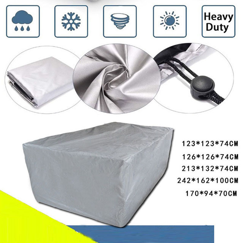 Image 1 - 8 Sizes Silver Waterproof Outdoor Patio Garden Furniture Covers Rain Snow Chair covers for Sofa Table Chair Dust Proof Cover-in All-Purpose Covers from Home & Garden