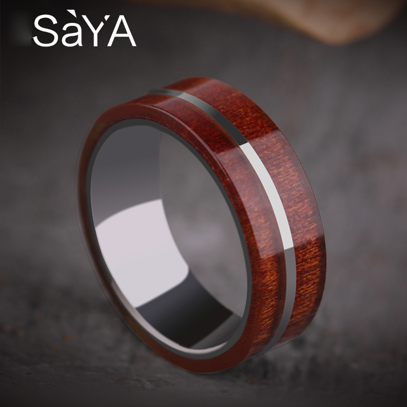 купить 2018 Koa Wood Inlay Men's Tungsten Wedding Bands with Mirror Polished Tungsten Stripe 7.5mm Promise Rings for Man Engagement по цене 2372.43 рублей