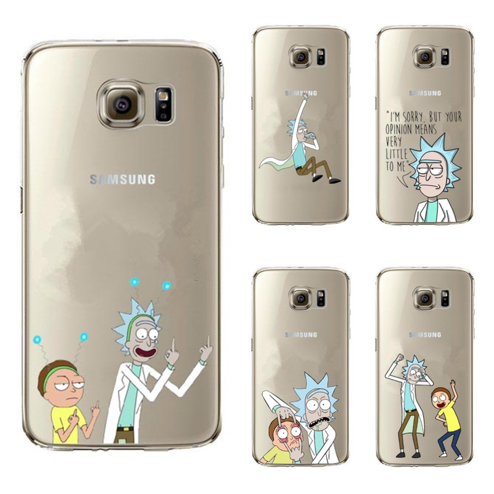 Rick And Morty Transparent <font><b>Hard</b></font> PC <font><b>Phone</b></font> <font><b>Case</b></font> <font><b>Cover</b></font> For <font><b>Samsung</b></font> A3 A5 A7 2017 J1 J5 J7 2016 S5 S6 S7 Edge S8 <font><b>S9</b></font> Plus image