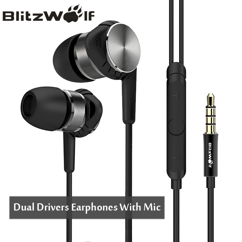 BlitzWolf Hybrid 3 5mm Earphones With Microphone Phone Earphone Wired Sport In ear Noise Cancelling Earphones