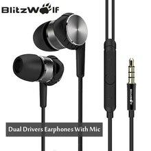 Blitzwolf Hybrid 3.5 мм Наушники С микрофоном телефон Проводные Наушники Спорт-вкладыши Шум отмена Наушники стерео Бас Earbud