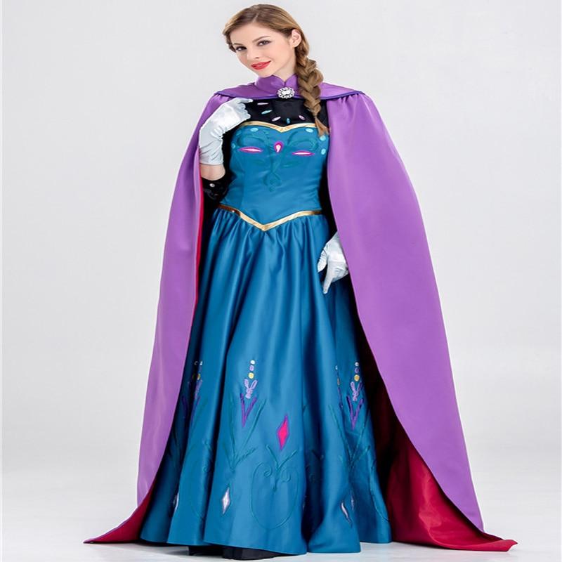 Купить с кэшбэком Frozen Anna Princess Elsa queen Adult Halloween costume princess long dress with long cloak role playing cosplay costume JQ-1025