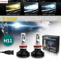 2 H11 H8 H9 LED Headlight Bulbs X3 Version ZES Chip 12000LM IP68 200m Range With