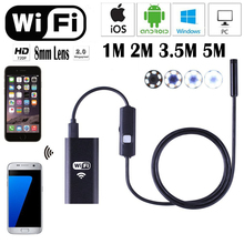 HD 720P Waterproof Smart WIFI Endoscope 8mm Inspection Snake Camera Borescope Video Inspection Camera for IOS/Android/Windows Pc
