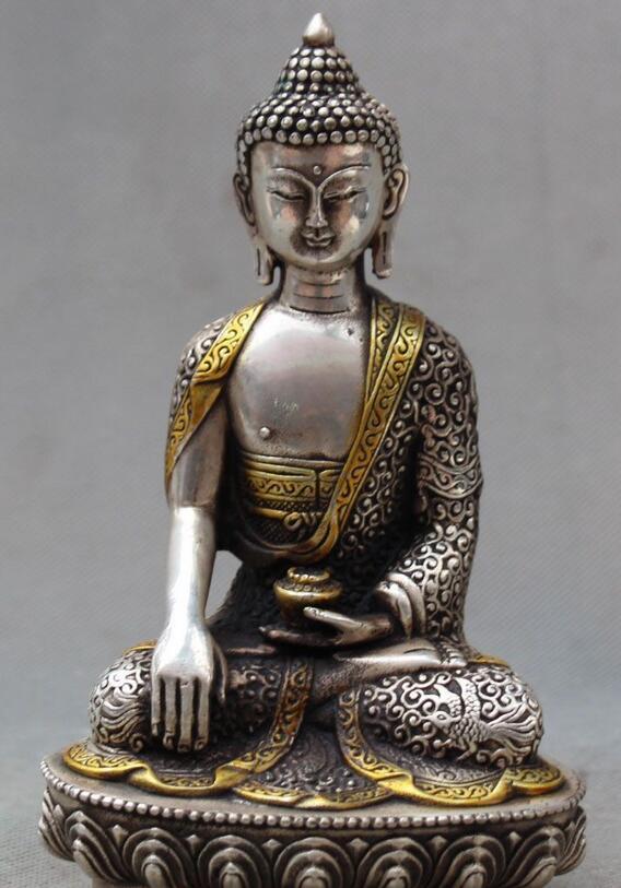 wang6710637++8 Chinese Buddhism Silver Gilt Dragons Robe Shakyamuni Amitabha Buddha Statuewang6710637++8 Chinese Buddhism Silver Gilt Dragons Robe Shakyamuni Amitabha Buddha Statue