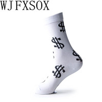 10pcs 5pairs Tide Brand Socks Street American Dollar Symbol Embroidered Cotton Couple Models Warm Fall Winter