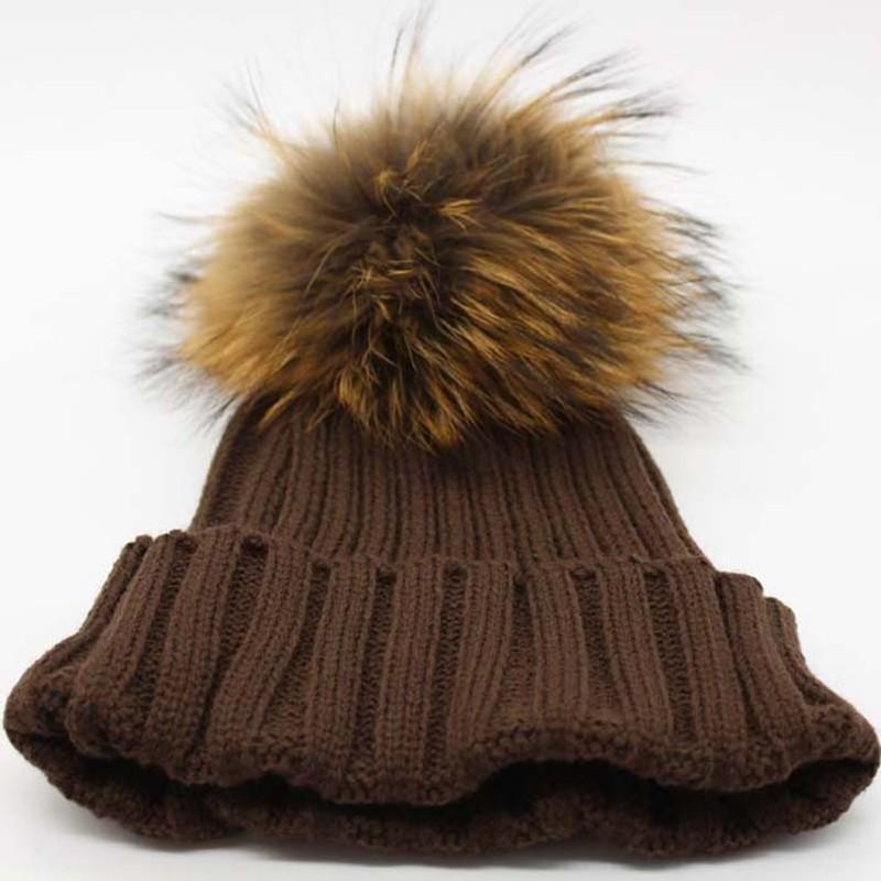 4 brown fur hat pom pom
