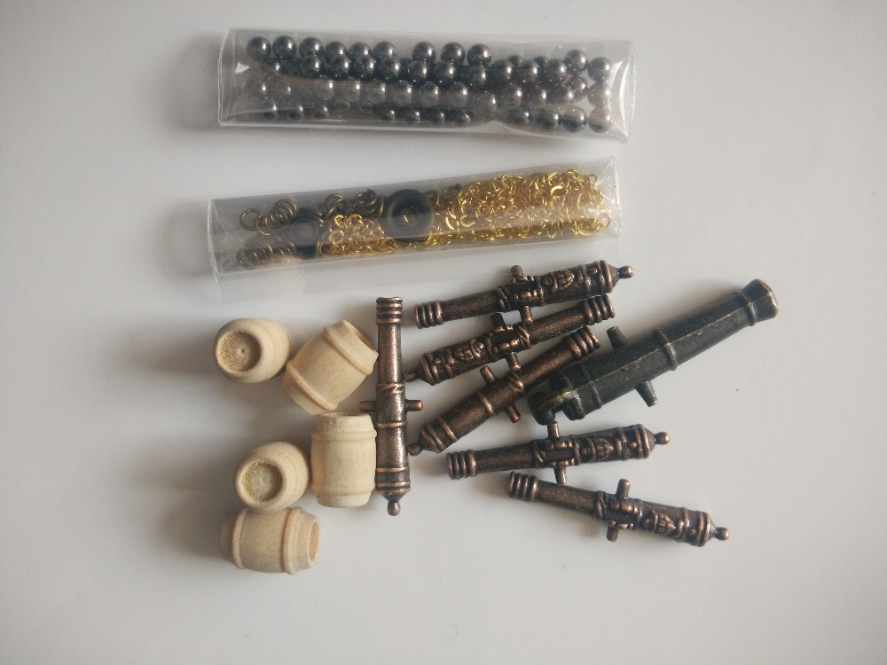 Scale 1/100 Halcon model Ship Accessories kit Classical cannon+Alloy anchor+Brass Anchor chain+ Cannonball+wooden barrel(China)