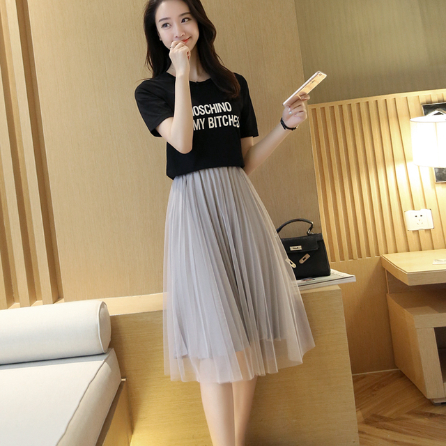 6bebc2656 The Korean version of the new spring and summer high waist thin Chiffon  pleated skirt black Tutu A gauze in the long skirt woman