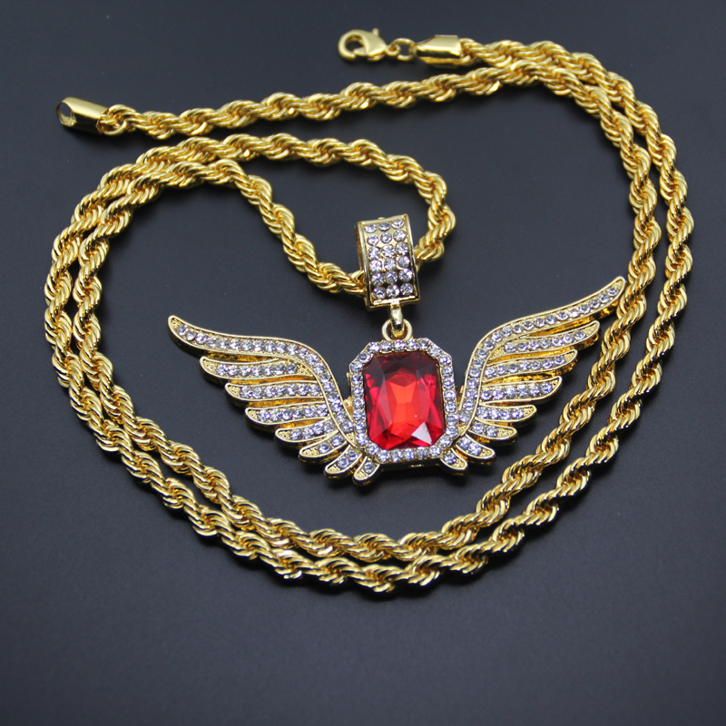 Hip Hop Angel Wings With Big Red Stone Pendant Necklace