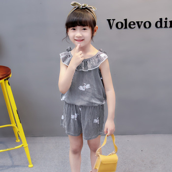 (4 sets/lot) New 2018 Summer Girls' Clothing Sets Striped T-shirt & Shorts Baby Girl 2 PCs Set  8042615