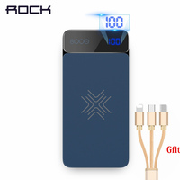 ROCK Wireless Charging External Battery PowerBank 8000mah LCD Wireless Charger Power Bank For iPhone X Xr Xs Max (Send Gift)