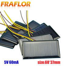 10ピース/ロットソーラーパネル太陽電池多結晶シリコンカタルーニャソーラーdiy panneau solaire太陽電池モジュール5v 60mA 68*37*3ミリメートル