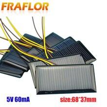 10 pz/lotto pannello solare celle solari policristallino silicio Placa solare fai da te Panneau Solaire moduli celle solari 5V 60mA 68*37*3mm