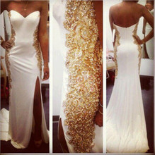 2014 New Arrival Sexy Sweetheart Chiffon White Mermaid Prom Dresses Long Gold Crytal Beaded Side Split Evening jov157976