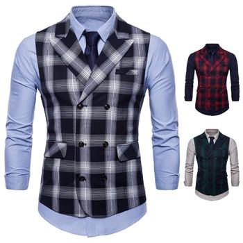 Man Suit Vest Fashion Slim Fit Thin Grid Plaid Men Waistcoat Double Breasted Slim Fit Business Sleeveless Jacket 4XL