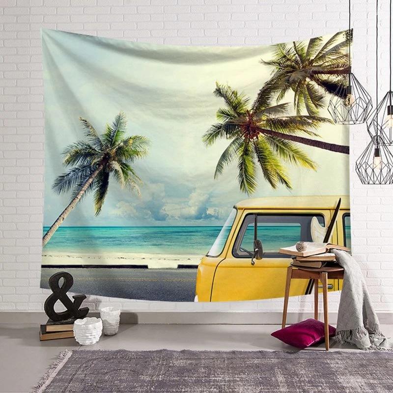 Coastal Tapestry Caribbean Summer Sea Print Wall Hanging Decor