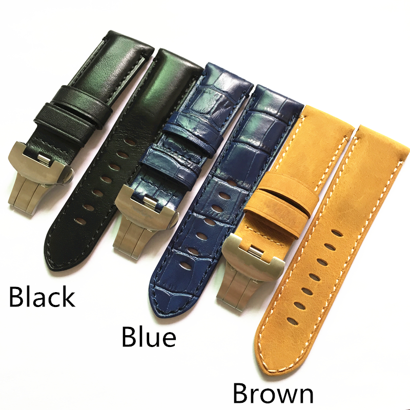 LUKENI 24mm Vintage Brown Black Blue Italy Calf Leather Watchband Strap With Original Butterfly Buckle For Panerai PAM Bracelet lukeni 24mm camo gray green blue yellow silicone rubber strap for panerai pam pam111 watchband bracelet can with or without logo