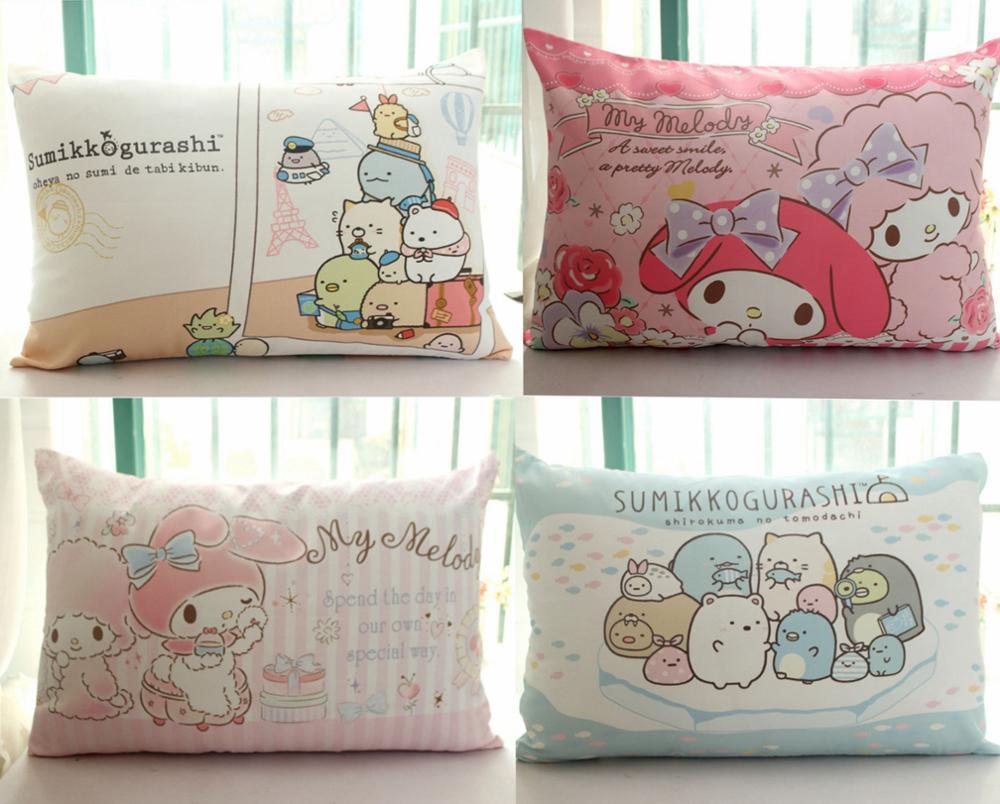 1pc 62cm cartoon cute melody san - x bear soft plush pillowcase cotton single pillow slip cover girl kids bed decoration