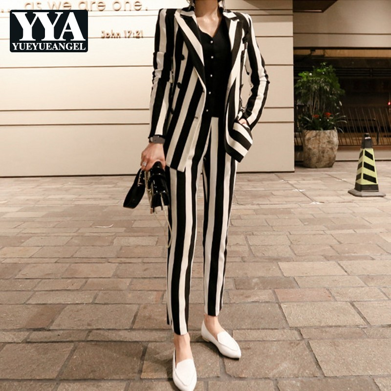 New Winter Womens Striped Double Breasted Blazer Jacket Slim Fit Pencil Pants 2 Pieces Suits Sets Business OL Sets Female
