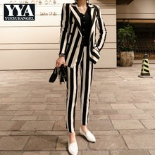 New Winter Womens Striped Double Breasted Blazer Jacket Slim Fit Pencil Pants 2 Pieces Suit