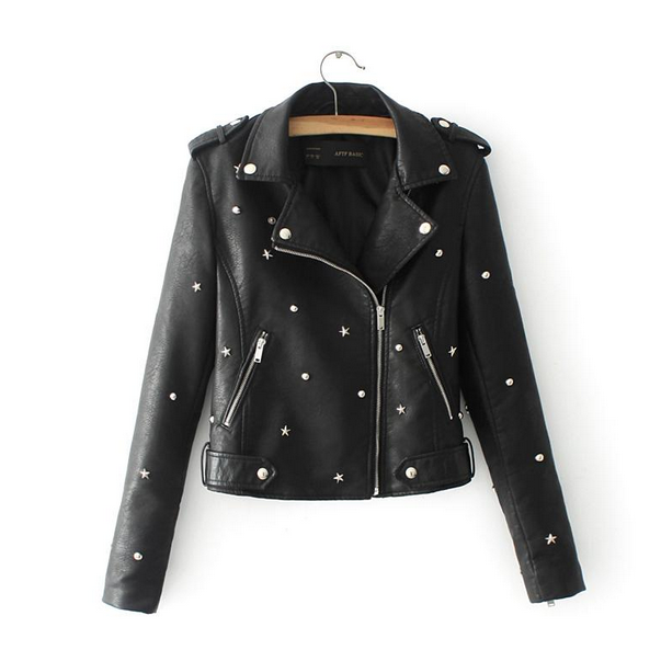 New Autumn Fashion Street Women's Short Washed PU   Leather   Rivet Star Ball Jacket Zipper Black New Ladies Basic Jackets Good Qual