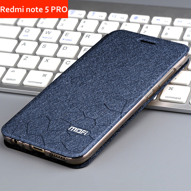 new concept 74e2e cc24c US $8.29 17% OFF|xiaomi redmi note 5 pro case Cover Flip Leather Book PU  Mofi Luxury Soft Silicon Thin AI 5.99
