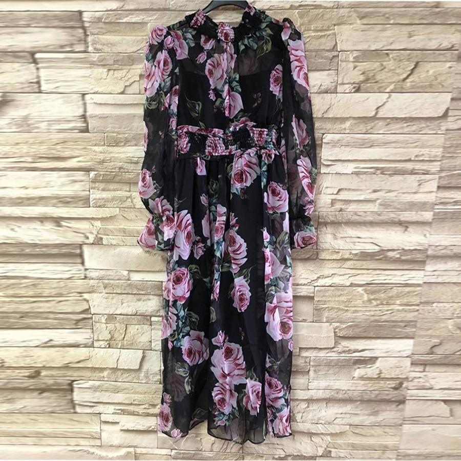 Romantic Rose Print Long Dresses Runway 2018 Spring Elegant Holiday Turtleneck Waist Elastic New Arrival Exquisite Ladies Dress