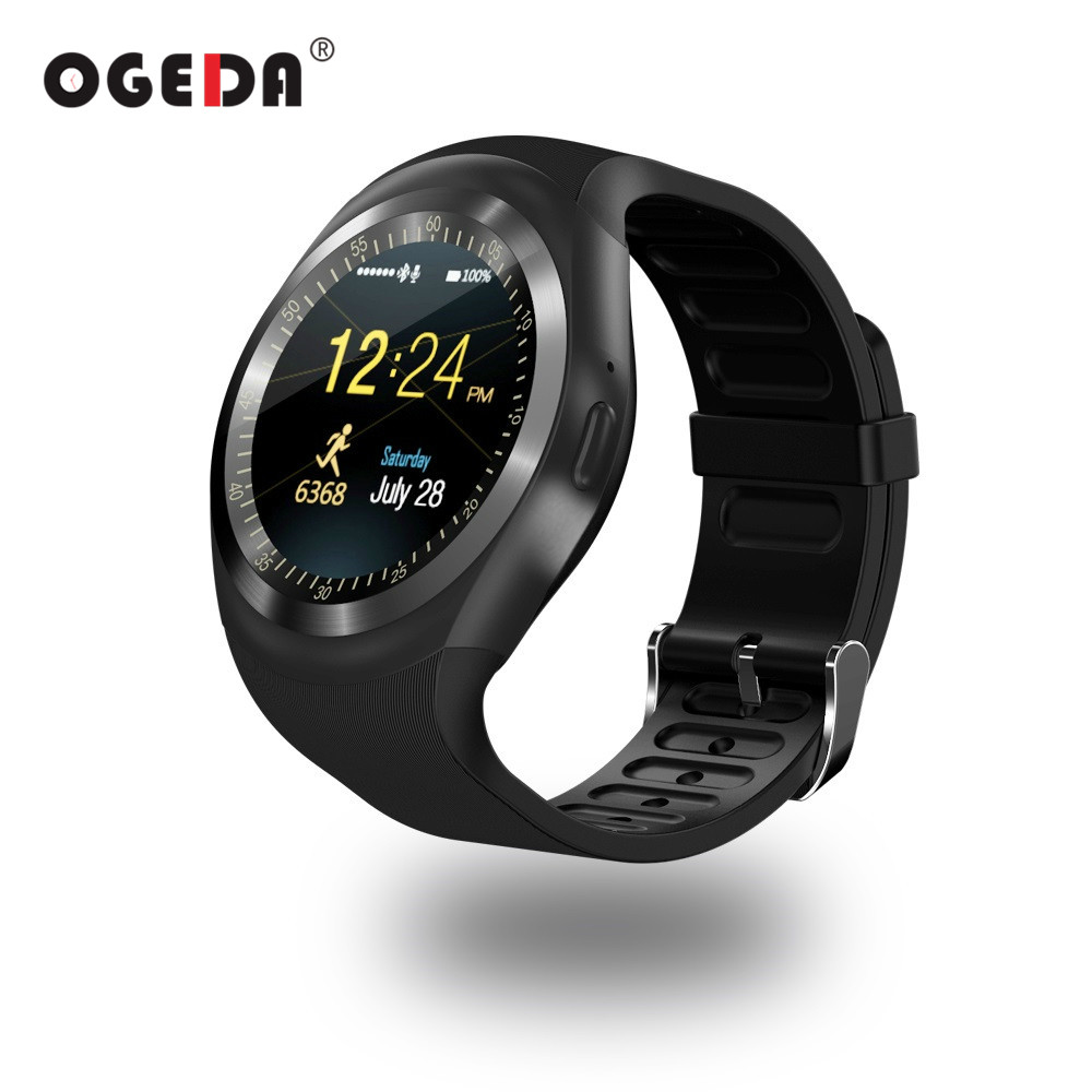 OGEDA Men Smart Watch Round Support Nano SIM&TF Card With Bluetooth 3.0 Men&Women Business Smartwatch For IOS Android O1 PK DZ09 hraefn bluetooth smart watch k88s round full view ips smartwatch heart rate monitor wristwatch for ios android support sim card
