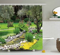 Garden Decor Shower Curtain Japanese Park Style Recreational View with Pond Grass Stones and Trees Landscape Decor Set