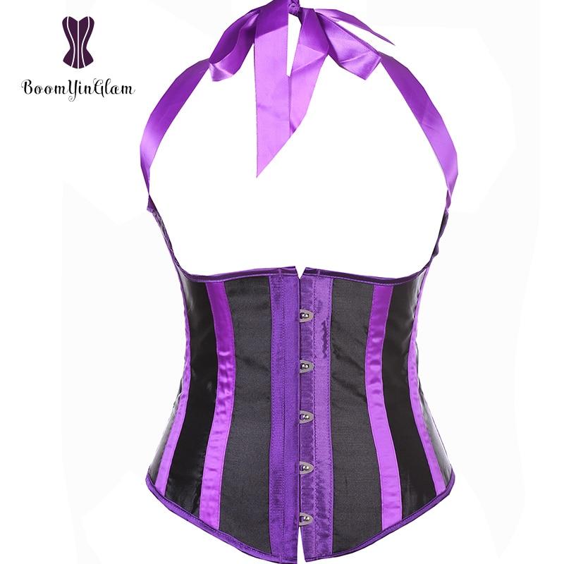 2831 High Quality Satin Purple Halterneck Waist Cincher Outfit Costume Body Shaper Underbust Corset Plus Size S-6xl
