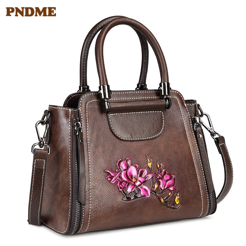 PNDME retro genuine leather ladies handbag fashion print pattern cowhide cube womens shoulder crossbody bags