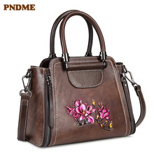 PNDME retro genuine leather ladies handbag fashion print pattern cowhide cube womens shoulder crossbody bags
