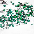 Malachite Green Mixed Sizes Non Hotfix 3D Stone Nail Art Rhinestone Crystal Strass Glue On For Nails DIY All Sizes